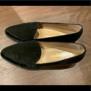 Russell & Bromley patent and suede loafers